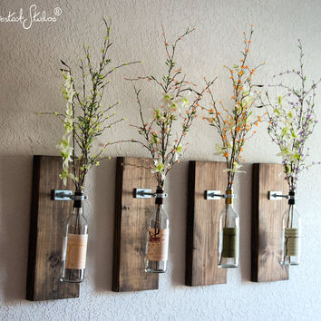 Amazing Wine Bottle Wall Vase / Set of Four - Rustic Modern Decorations - rustic farmhouse wall decor