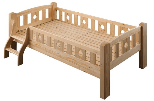 Amazing Wooden Toddler Bed With Rail And Low Step Stairs Also Unfinished Wood wooden toddler bed