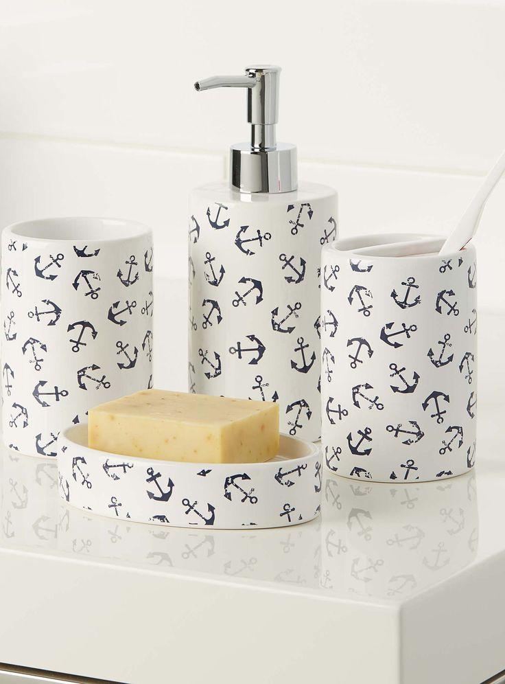 Beautiful Nautical Chic | Simons Maison Stenciled Anchor Accessories. #home #decor # bathroom anchor bathroom accessories