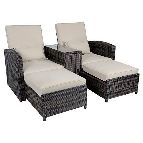 Awesome Antigua Rattan Wicker Reclining Sun Lounger Companion Chair Garden  Furniture Set Discount reclining garden lounger
