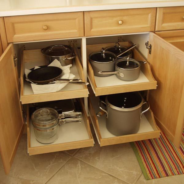 Awesome Cabinets will have pull-out drawers for easy access to pots u0026 pans kitchen cabinet shelving ideas