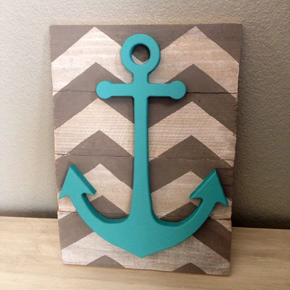 Awesome Chevron anchor wall decor by CrossYourMindDesigns on Etsy, $20.00 nautical anchor bathroom decor
