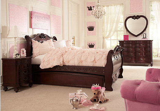 Awesome Disney Princess Cherry 5 Pc Full Sleigh Bedroom disney princess bedroom set