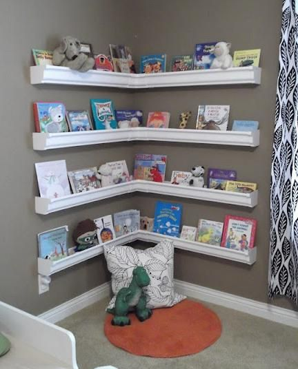 Awesome DIY Rain Gutter Kidu0027s Bookshelves This could be the best u0027re-purposingu0027  project wall mounted bookshelves for kids