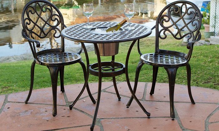 Awesome Palermo Copper Cast Aluminum Bistro Set (3-Piece) cast aluminum bistro sets outdoor