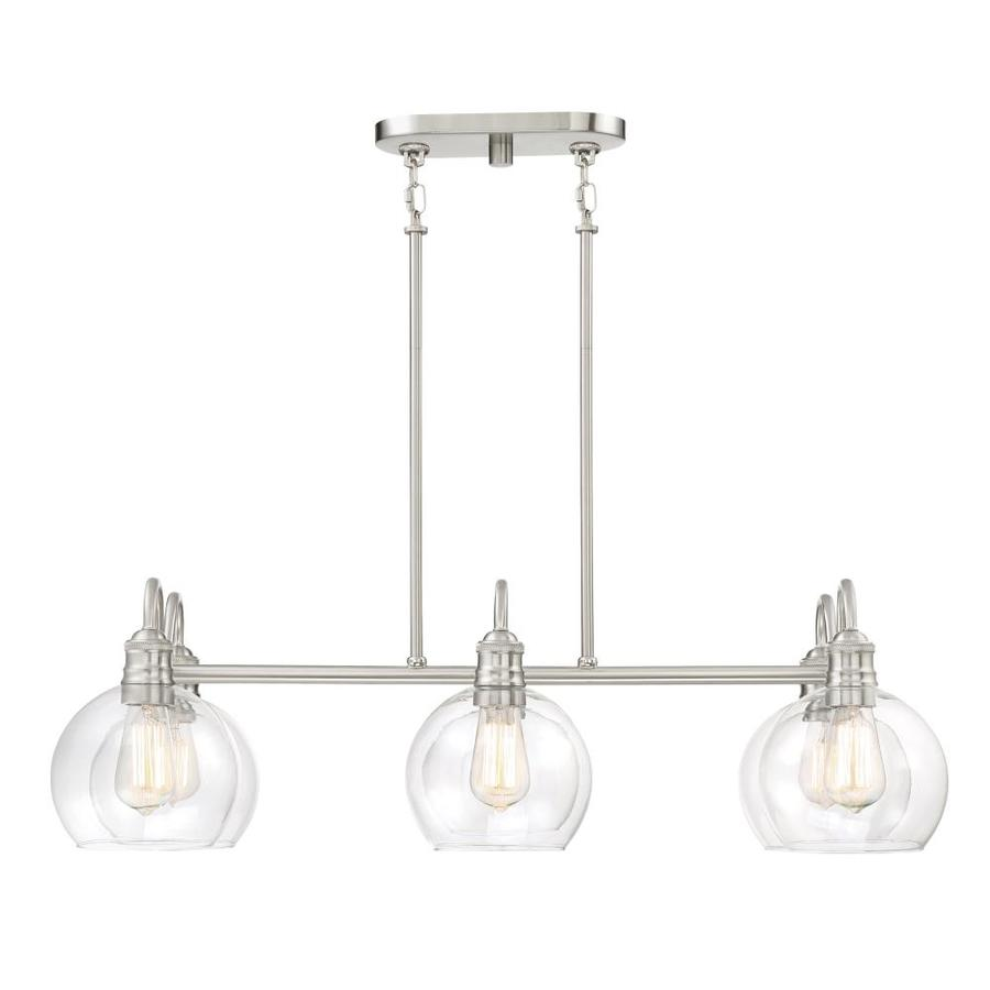 Awesome Quoizel Soho 33.125-in W 6-Light Brushed Nickel Kitchen Island Light with  Clear kitchen island light fixtures