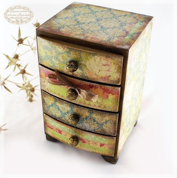 Awesome Shabby Blue Gipsy Hippie Mini wooden chest drawers apothecary cabinet Boho small wooden chest of drawers