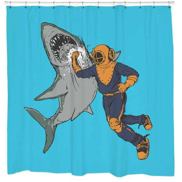 Awesome Shark Punch Shower Curtain cool shower curtains