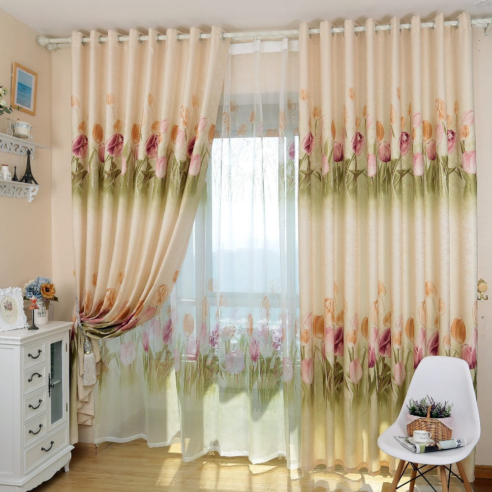 Awesome Simple design rustic tulip floral design home semi-blackout blind drape  curtain(China ( simple curtain design