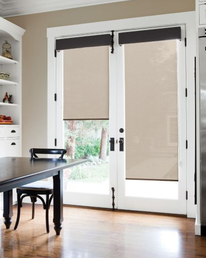 Awesome Solar Roller Shades in 13221 Link/ Wheat Layered with Tailored Upholstered  Cornice window treatments for french doors in kitchen