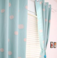 Awesome Two Grommet Top Blue Sky Clouds Curtains. Baby Nursery Curtain Or Toddler baby blue nursery curtains