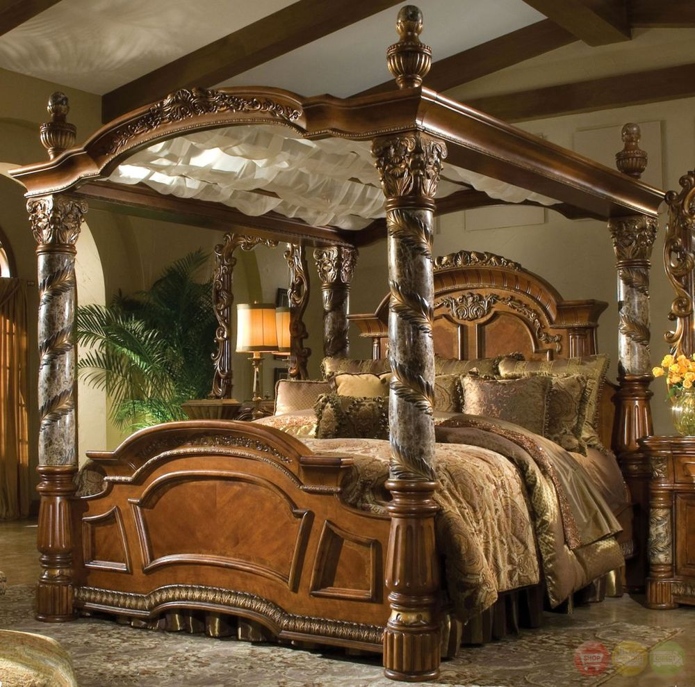 Awesome Villa Valencia Cal King Luxury Poster Canopy Bed Marble Posts Aico Michael king size canopy bedroom sets
