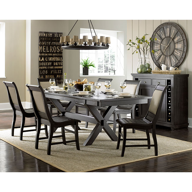 Awesome Willow Rectangular Dining Room Set w/ Upholstered Chairs (Distressed Black) dining room sets with upholstered chairs