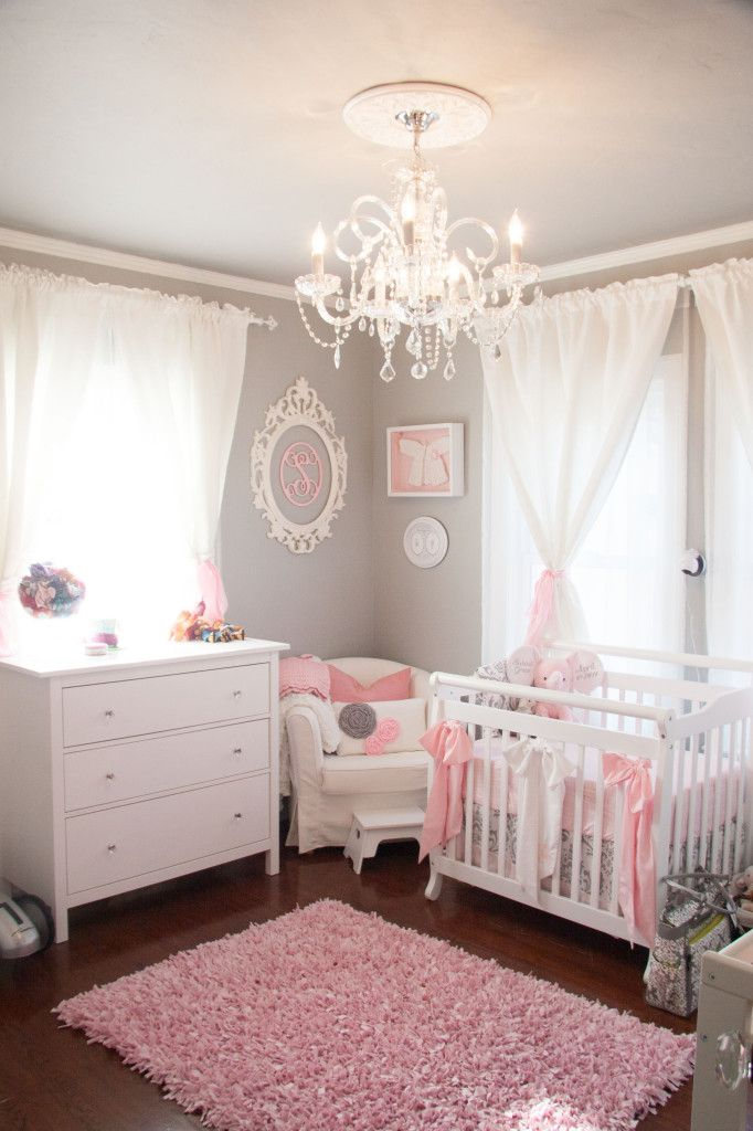 Cozy Nursery chandelier · 10 Most Viewed Nurseries in 2014 from  ProjectNursery.com baby girl room decor ideas
