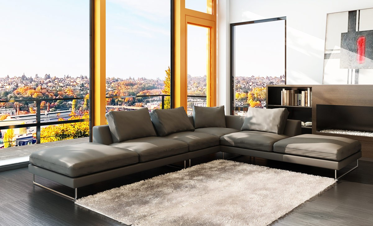 Beautiful 5051 Modern Grey Leather Sectional Sofa Gray