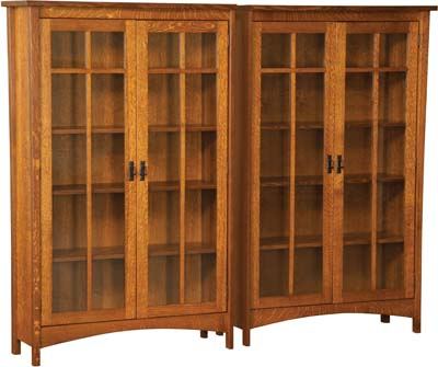 Beautiful Arts and Crafts Double Bookcase with Four Doors solid wood bookcases with doors