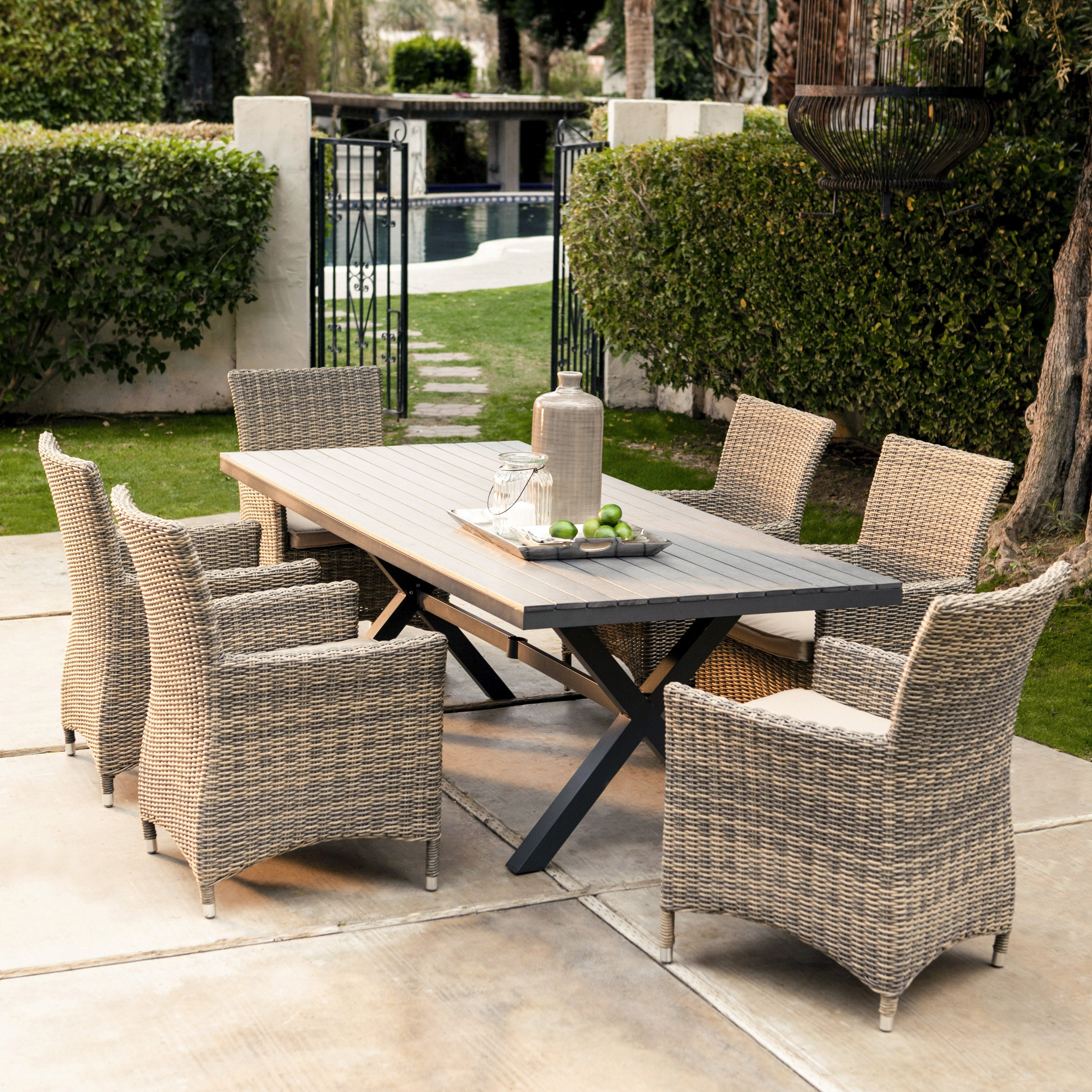 Beautiful Belham Living Devon All Weather Wicker Sofa Sectional Patio Dining Set - outdoor furniture dining sets