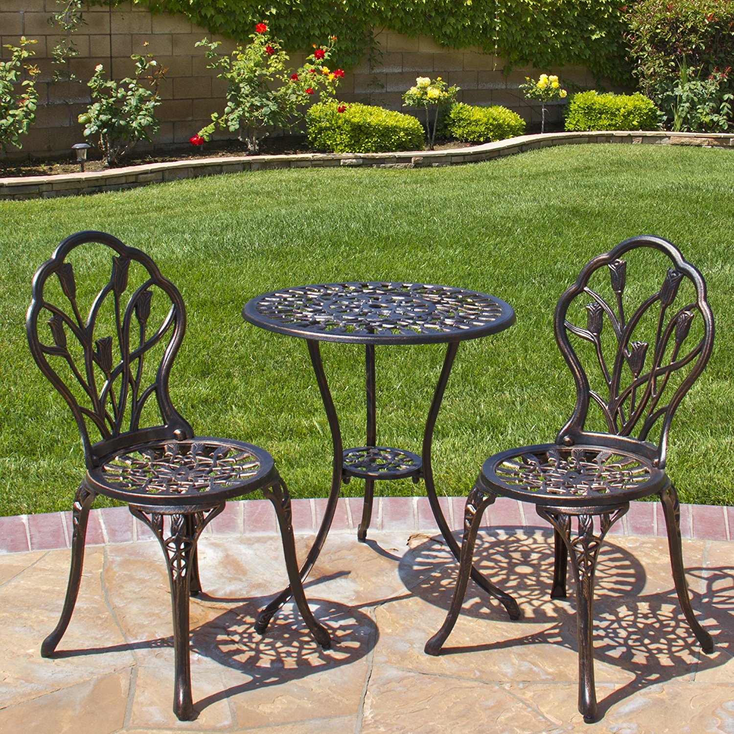 Beautiful Best Choice Products Outdoor Patio Furniture Tulip Design Cast Aluminum Bistro  Set bistro patio sets clearance