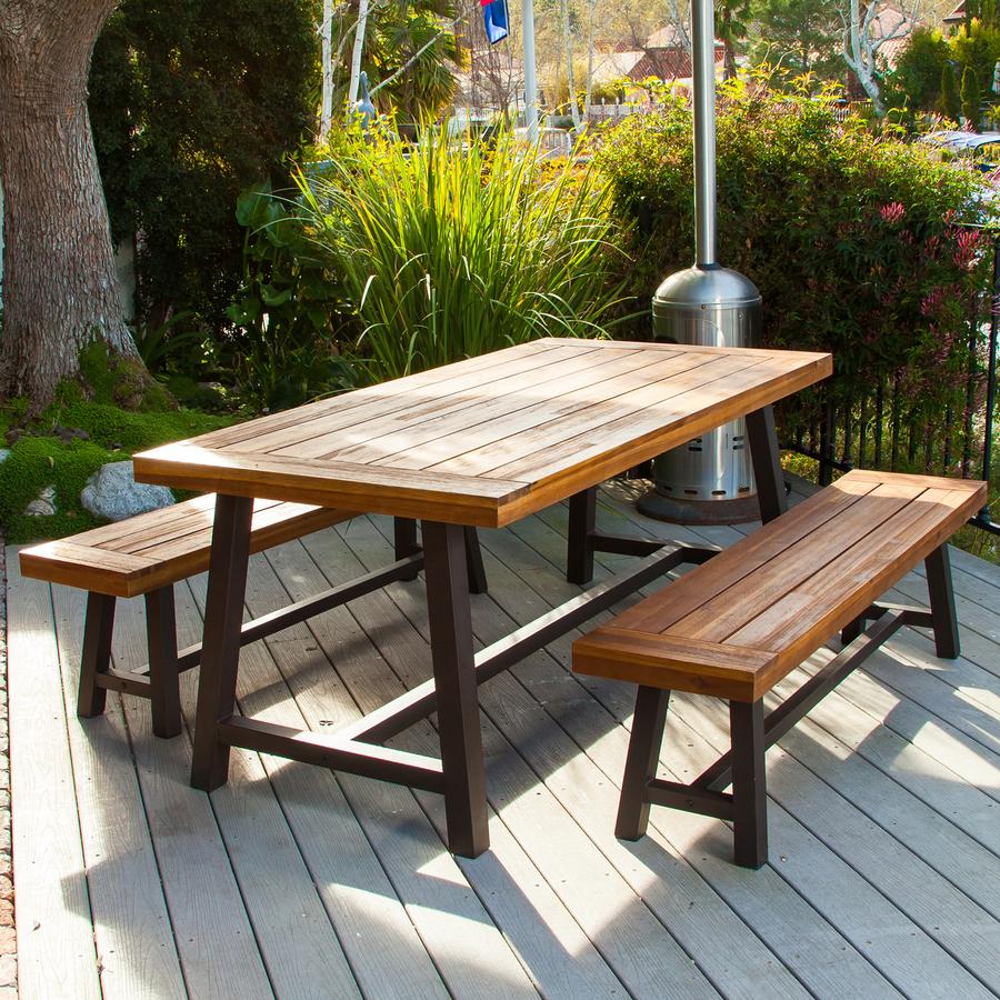 Beautiful Best Selling Home Decor Carlisle 3-Piece Rustic Iron/Sandblast Wood Acacia Patio outdoor patio dining furniture