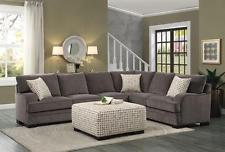 Beautiful Casual 2P Brown Chenille Sectional Sofa Ottoman Set Feather Down Blend chenille sectional sofa