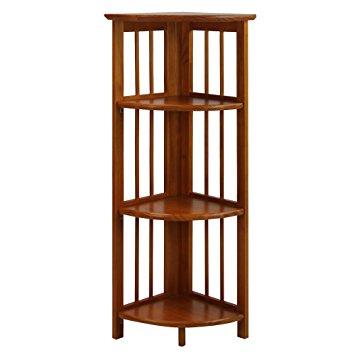 Beautiful Casual Home 4 Shelf Corner Bookcase, Honey Oak oak corner bookcase