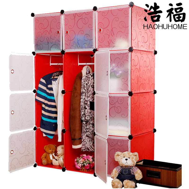 Beautiful Cheap DIY magic piece combination clothes closet storage rack simple plastic plastic racks for clothes