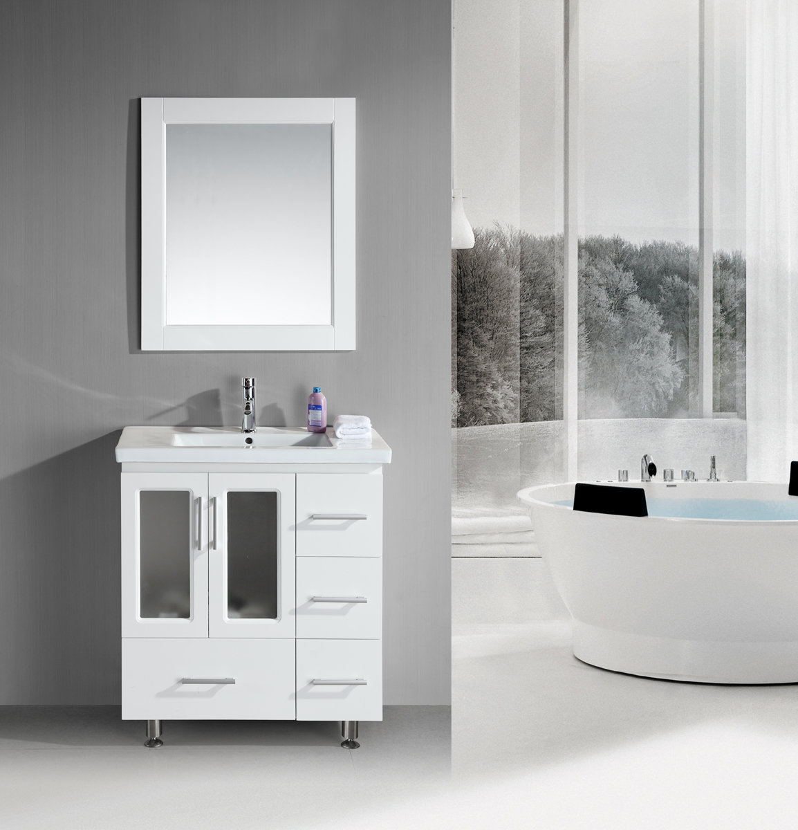 Beautiful Design Element Stanton 30u201d White Bathroom Vanity Set ... bathroom vanity sets