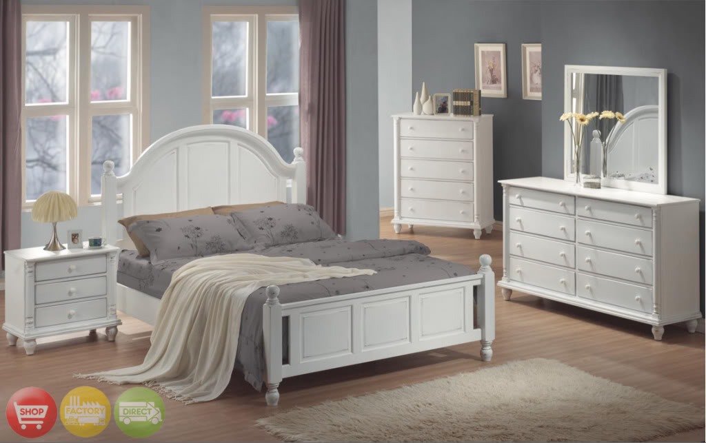 Beautiful Full Bed White Wood 4 piece Bedroom Furniture Set new white bedroom furniture sets