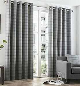 Beautiful GREY TARTAN Check Curtains Highland Charcoal Slate EYELET Ring Top This grey tartan curtains