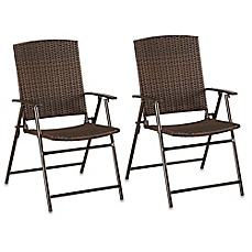 Beautiful image of Barrington Wicker Bistro Folding Chairs in Brown (Set of 2) folding patio chairs