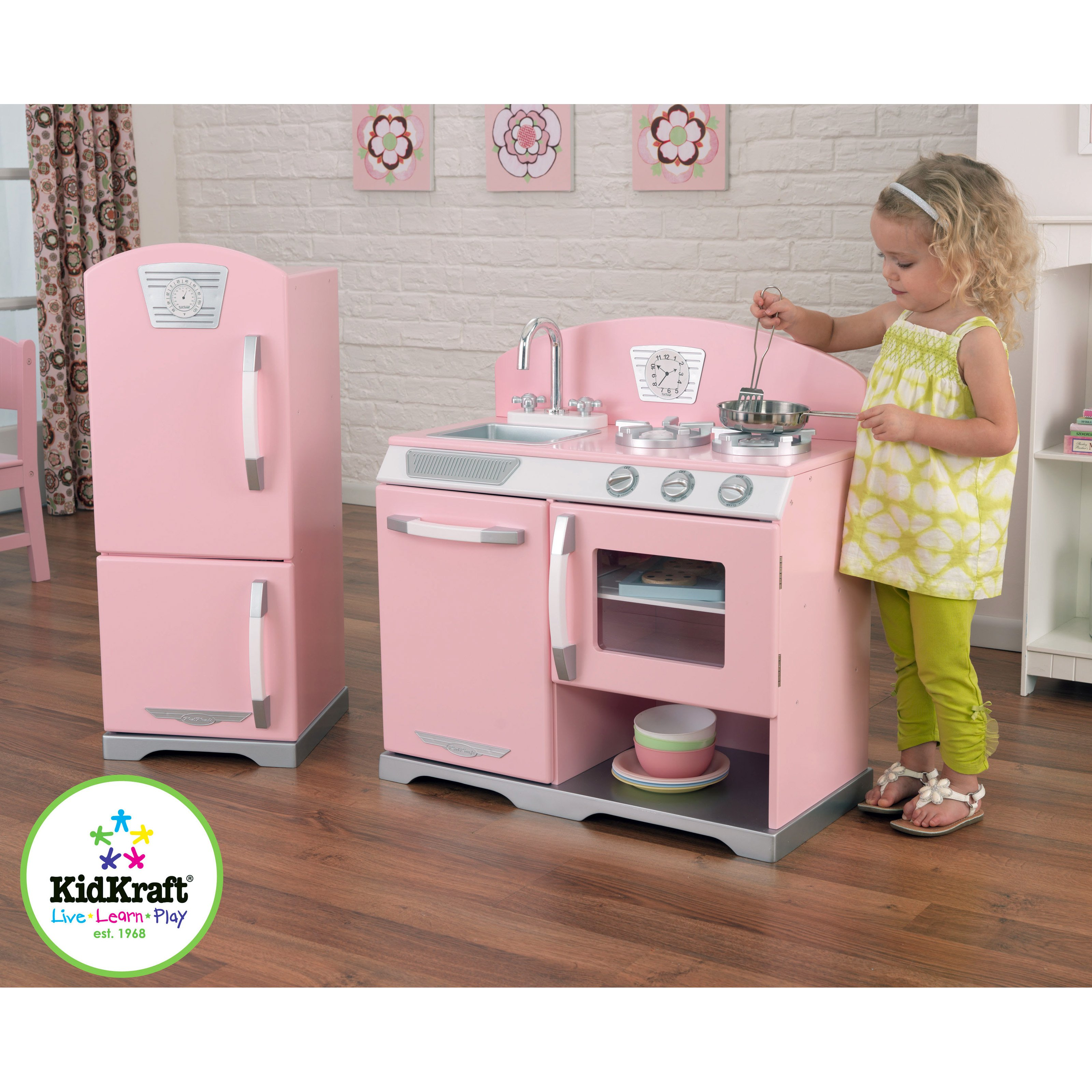 Beautiful KidKraft Pink retro Wooden Play Kitchen and Refrigerator - Walmart.com kidkraft retro kitchen