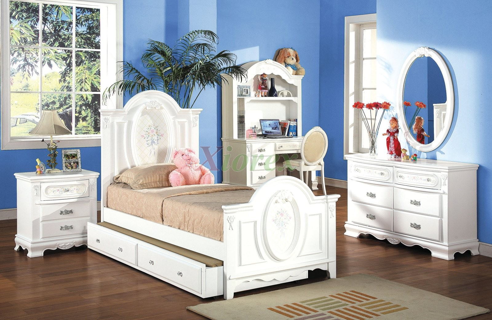 Beautiful Kids Bedroom Furniture Set with Trundle Bed and Hutch 174 | Xiorex. Dresser youth bedroom furniture sets