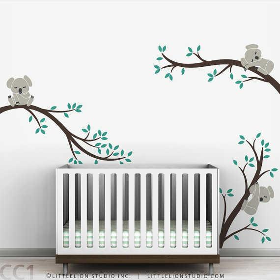 Beautiful Koala Baby Nursery Wall Decal Koala Tree Wall Decal for Sleepy Mood baby bedroom wall stickers