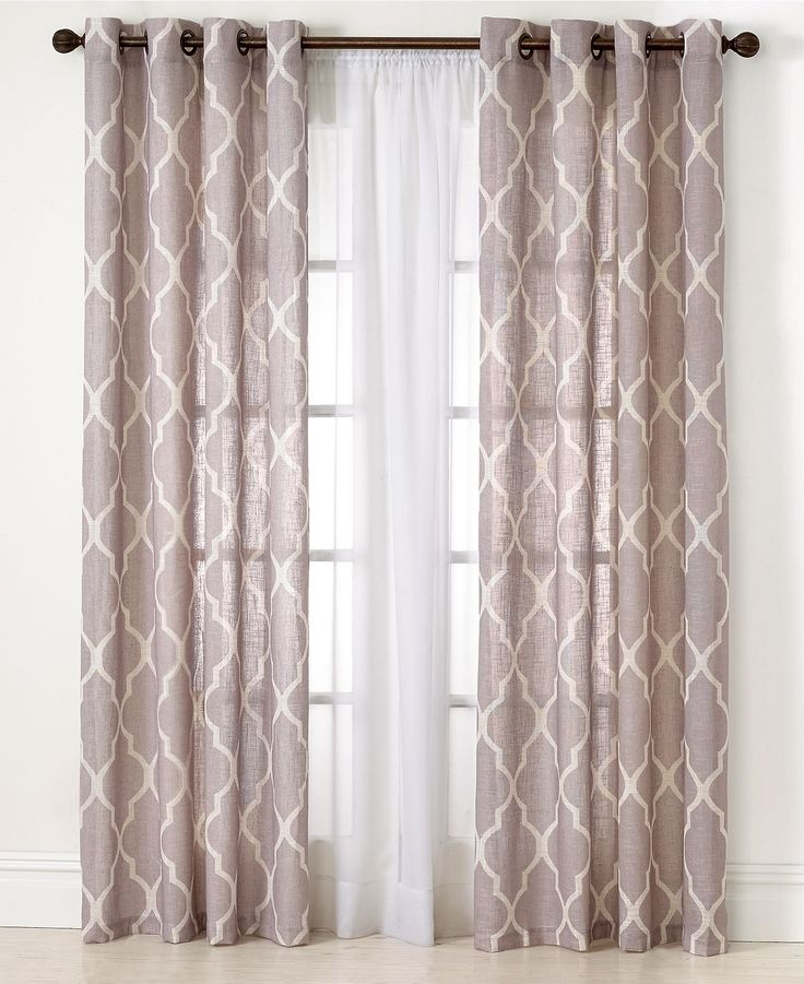Beautiful Layer patterned panels in front of sheer panels for windows around kitchen window curtain design