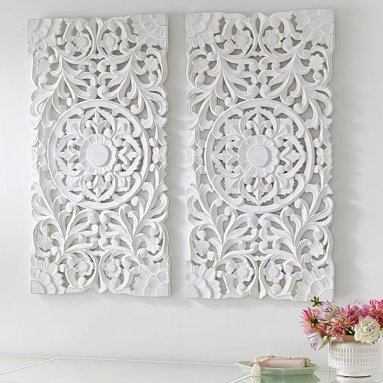 Beautiful Lennon u0026 Maisy Ornate Wood Carved Wall Art, Set of 3 | wood carved wall art
