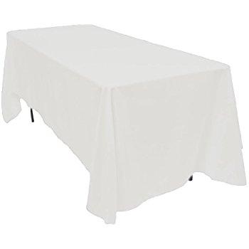 Beautiful LinenTablecloth 70 x 120-Inch Rectangular Polyester Tablecloth White white linen table cloths