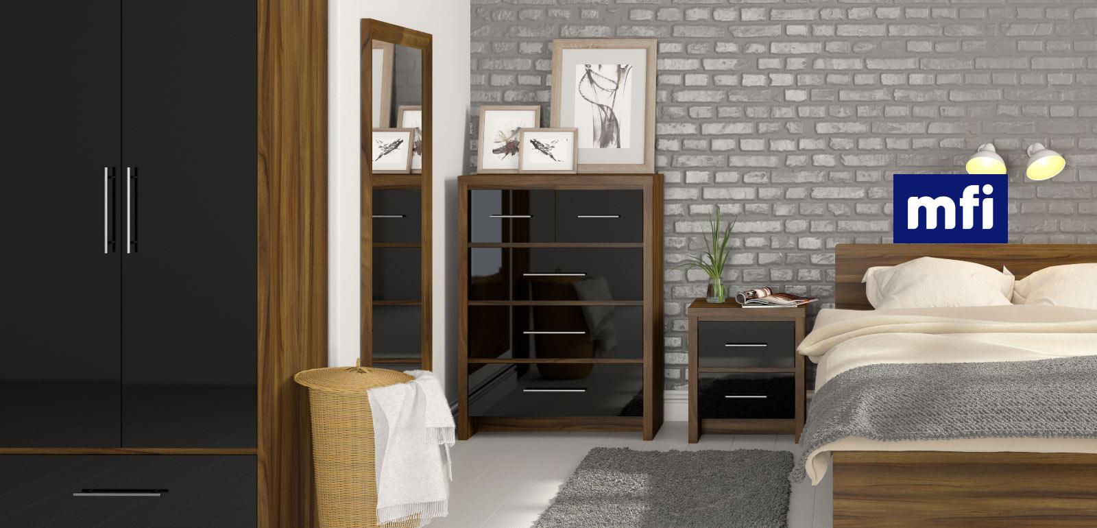Beautiful London Walnut and Black Gloss Bedroom Furniture walnut black gloss bedroom furniture