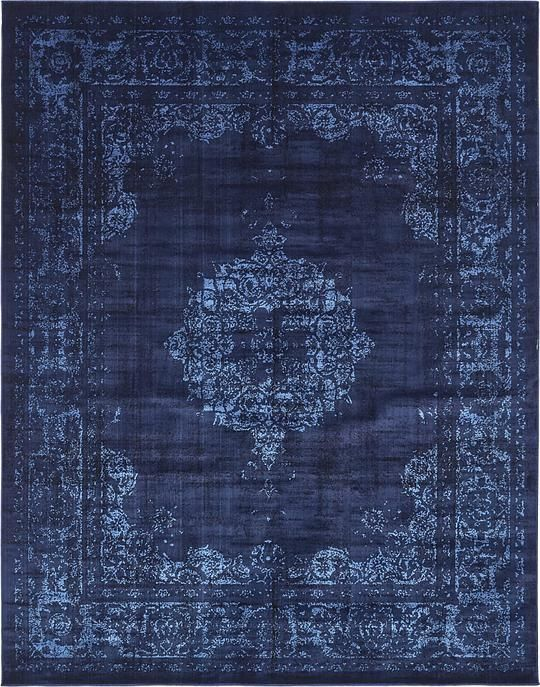 Beautiful Navy Blue 8u0027 x 10u0027 Renaissance Rug | Area Rugs | eSaleRugs navy blue rug