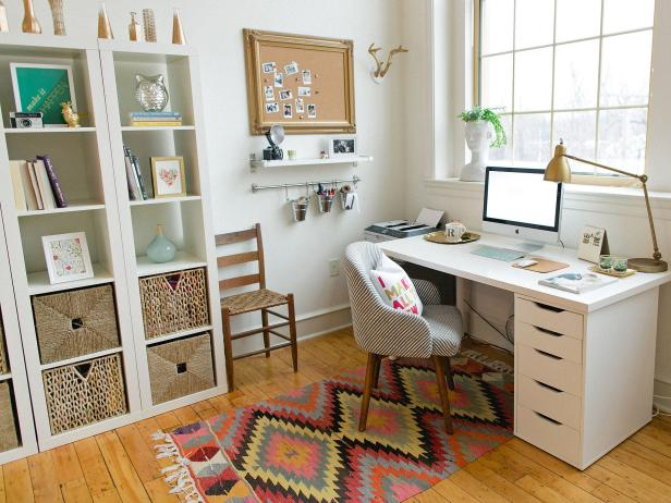 Beautiful Neat Home Office With Global Touches home office organization