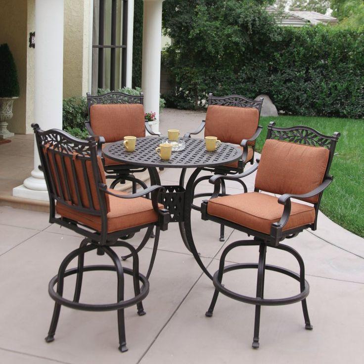 Beautiful Outdoor Darlee Charleston Aluminum 5 Piece Round Bar Height Patio Dining Set 5 piece bar height patio set