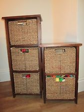 Beautiful pair of seagrass storage units / wicker / rattan baskets shelf cabinet storage baskets for shelves