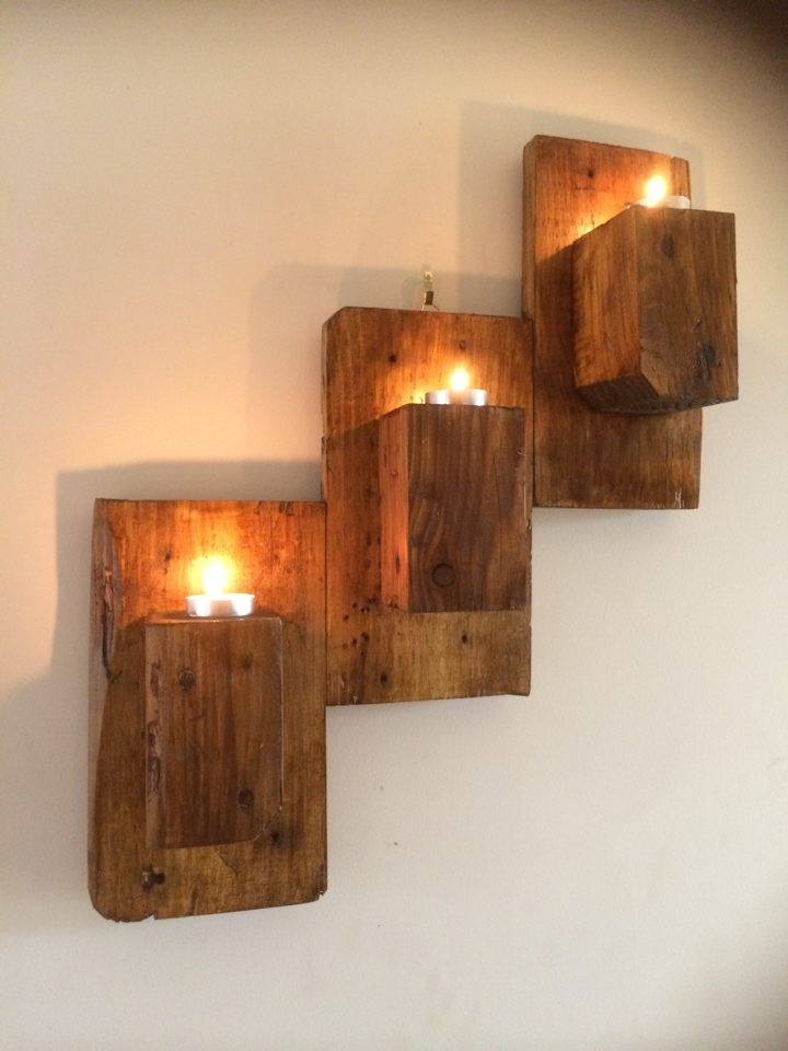 Beautiful pallet wall hanging candle organizer wall mounted candle holders
