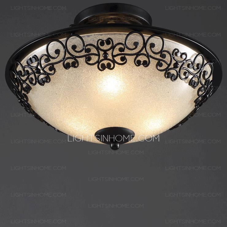 Beautiful Rustic Black Glass Shade Semi Flush Ceiling Light For Bedroom flush bedroom ceiling lights