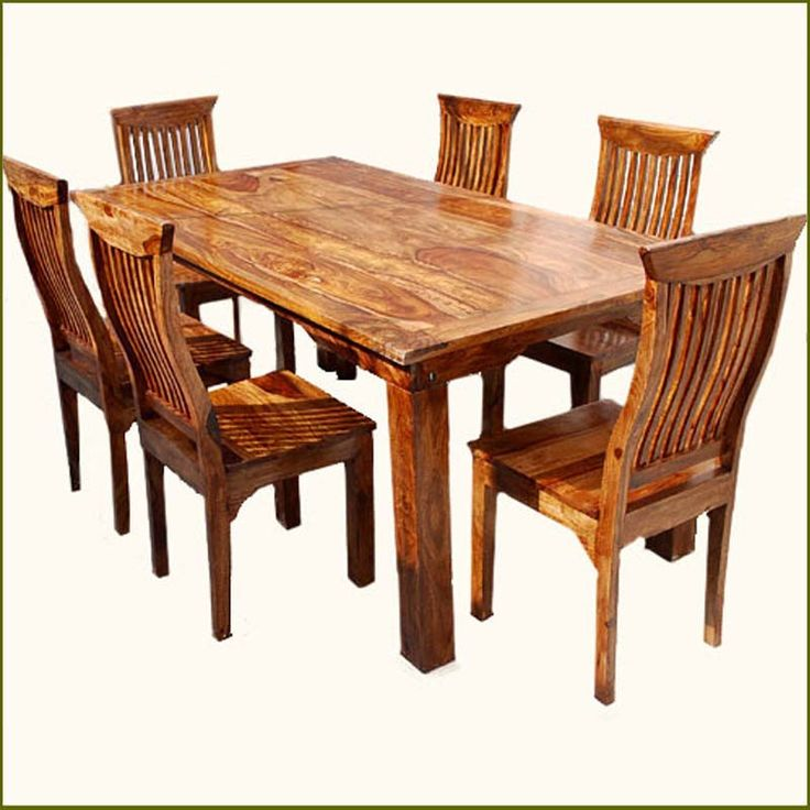 Beautiful Rustic Solid Wood Dining Table u0026 Chair Set Furniture solid wood dining set