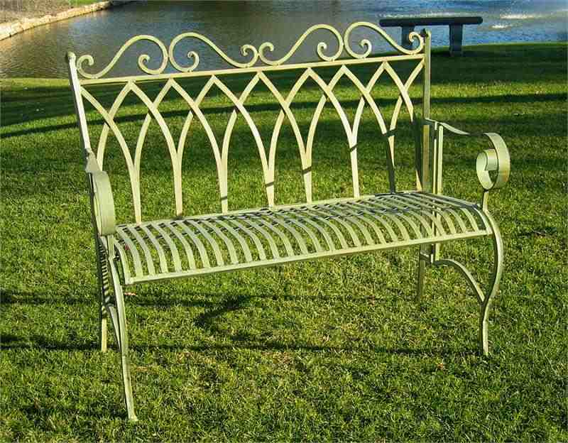 Beautiful Vintage Wrought Iron Bench ... wrought iron benches outdoor