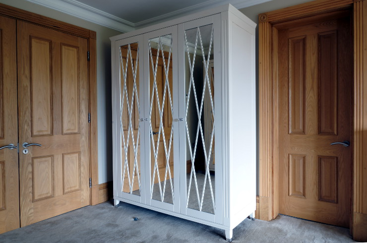 Amazing Free standing lacquered wardrobe with antique mirror diamond doors. bespoke free standing wardrobes