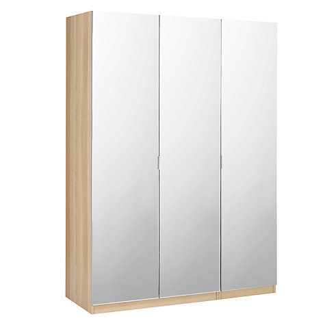 Best Buy House by John Lewis Mix it Mirrored Triple Wardrobe, Natural Oak Online triple mirrored wardrobe