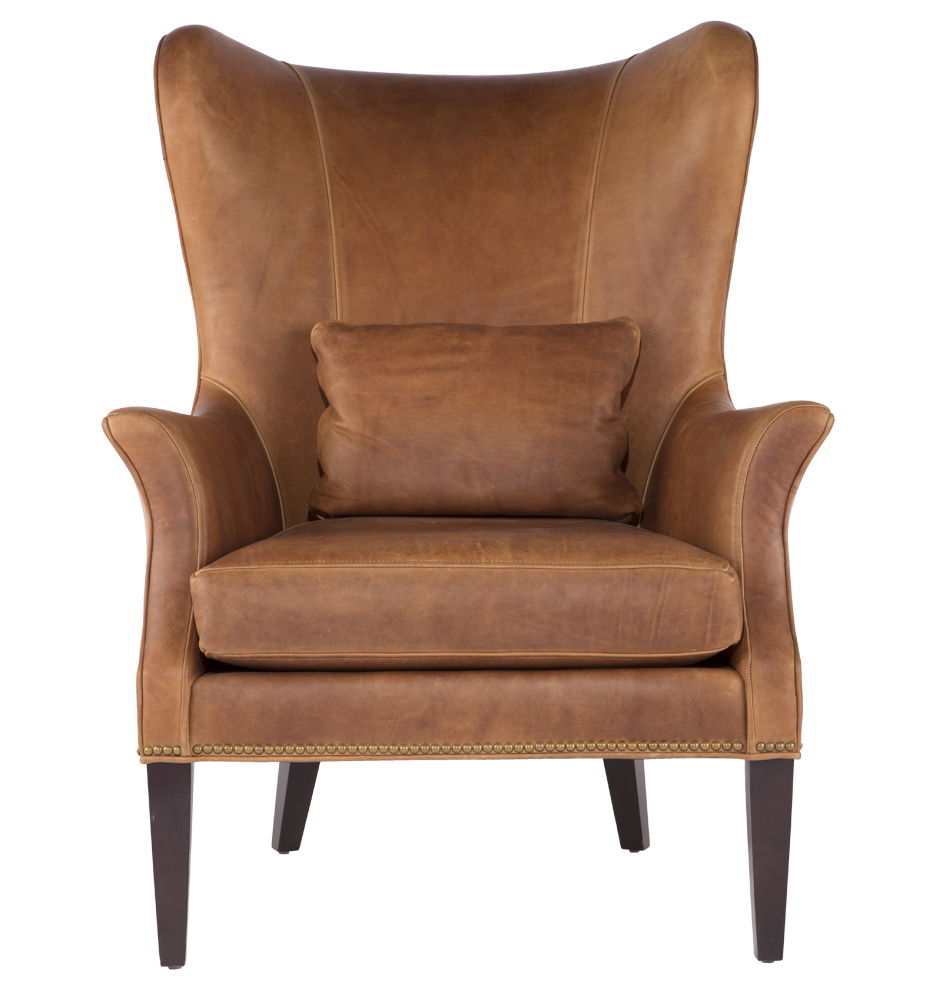 Best Clinton Modern Wingback Italian Leather Chair with Nailheads - |  Rejuvenation modern wingback chair