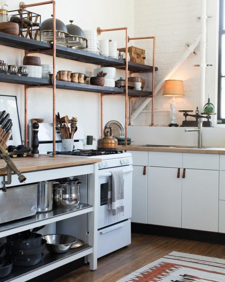 Best copper and wood open shelves are great additions to standard IKEA kitchen kitchen open shelving ideas