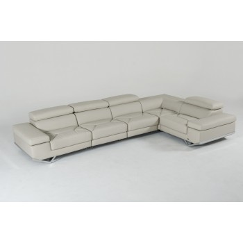 Best Divani Casa Kerria Modern Light Grey Eco-Leather Sectional Sofa modern leather sectional sofa